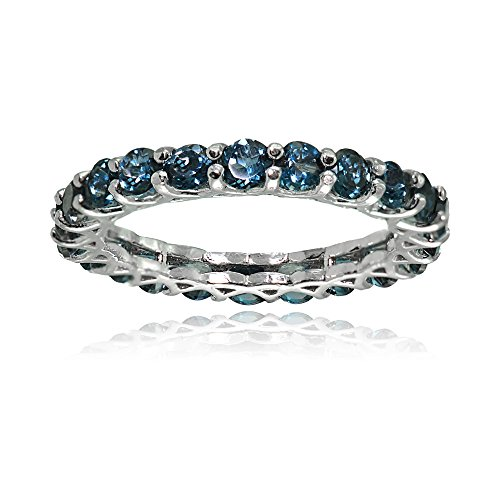 Sterling Silver London Blue Topaz 3mm Round-cut Eternity Band Ring, Size 5