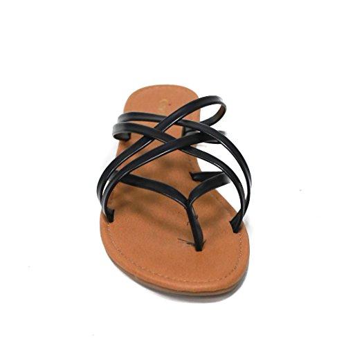 By Klassifisert Womens Denver-koreas Strappy Flat Sandal Sort ...