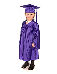 Childrens graduation gowns (age 3-5) and matching cap (shiny look) (Purple)