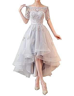 Kevins Bridal Off Shoulder High Low Prom Dresses 1/2 Sleeves Bridesmaid Dress Appliques