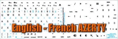 MAC ENGLISH-FRENCH AZERTY KEYBOARD STICKER WHITE BACKGROUND