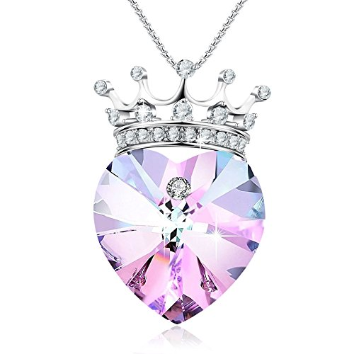 """❤️Valentines Gifts❤️""""Young Princess""""Crown Pendant Necklace Heart Shaped Wedding Birthday Jewelry for Girlfriend Daughter Wife, Purple Crystals from Swarovski"""