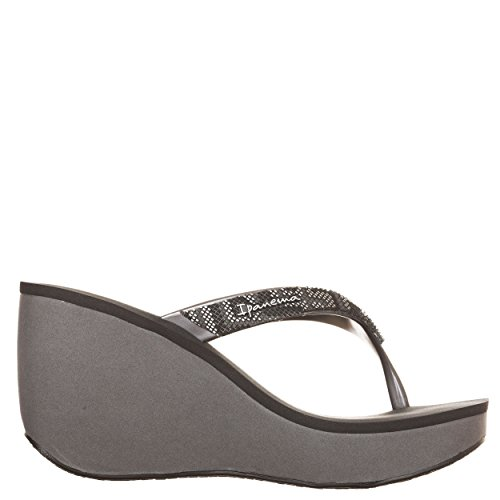 Ipanema - Chanclas de dedo para mujer, de color negro/marrón, con cuña de 8cm y plataforma de 3 cm,mod. 81936Bolero, de 100% caucho (fabricadas en Brasil) Grey/Black