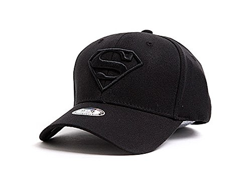 myglory77mall Superman Shield Embroider Baseball Cap Spandex Fitted Trucker Hat All Black M