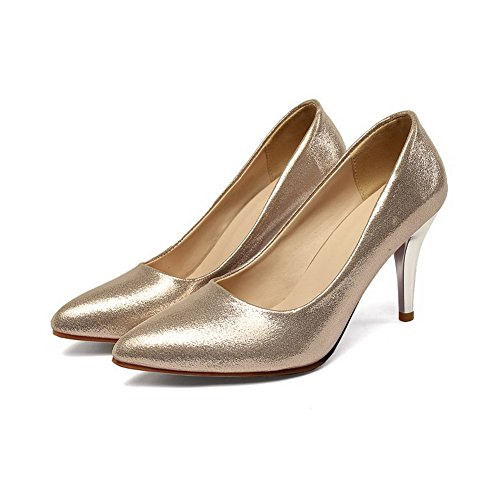VogueZone009 Women's Pull-On Kitten-Heels Sequins Solid Pointed Closed Toe Pumps-Shoes Gold bmcid7