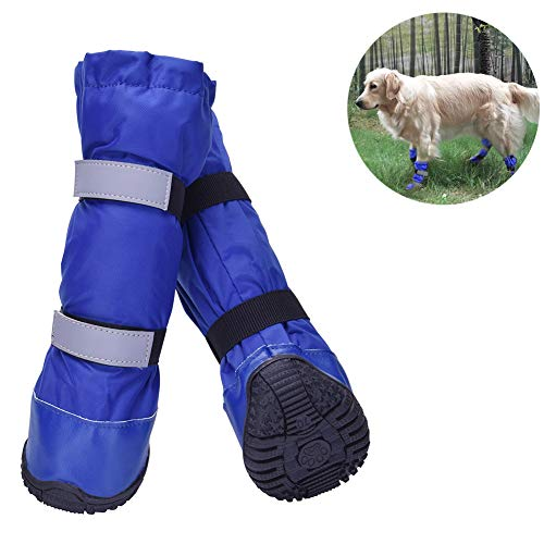 HiPaw Winter Water Resistant Dog Boots Nonslip Rubber Sole for Snow Rain (Dog Rubber Boots)