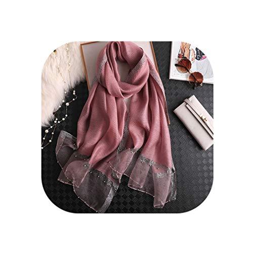 2019 luxury summer Pearl jewel silk scarves lady shawl wrap hijab female bandana pashmina headband Designer women scarf,Bean powder