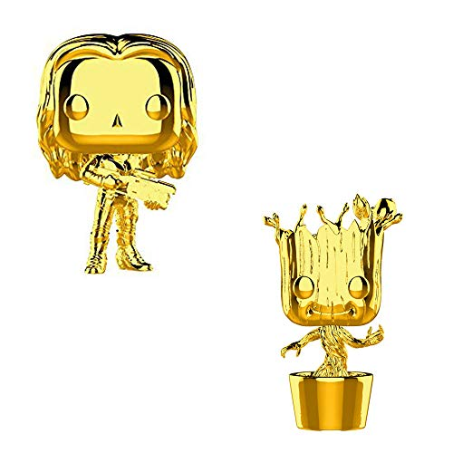 (Funko POP! Marvel Studios The First Ten Years: Gold Chrome Gamora and Gold Chrome Groot Bobblehead Toy Action Figure - 2 POP Bundle)