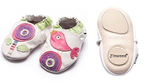 Jinwood - flower & bird - mini shoes - Blume & Vogel - Hausschuhe - Lederpuschen - Krabbelschuhe - by amsomo Weiß