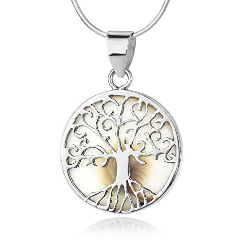 925 Sterling Silver Filigree Tree of Life White Shiva Eye Sea Shell Round Pendant Necklace 18
