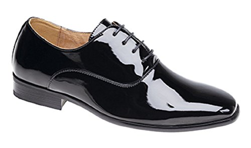 Garçons Chaussures mariage Black Patent Lace Up Formal Christening (infantile 8 - grand garçon 5.5)