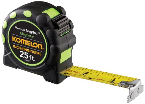 Komelon 7125IE Monster MagGrip Inch/Engineer Scale 25-Foot Measuring Tape with Magnetic End