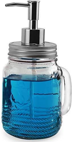 Anchor Decanter (Circleware 06891 Anchors Aweigh Mason Jar Dispenser Pump, Glass Bottle with Lid Home Decor for Essential Oils, Lotions, Liquid Soaps 17.5 oz Clear)