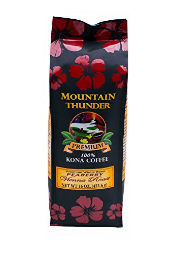 100% Kona Coffee - Peaberry - Whole Bean - Vienna Roast - 16 Ounce Bag - by Mountain Thunder Coffee Plantation
