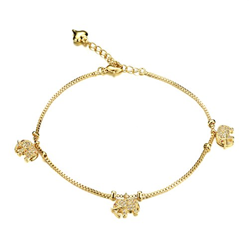 Fashion Aanklets 18K Gold Tone Rhinestone Elephant Beach Foot Chain Aanklet for Women (Elephant Anklet)