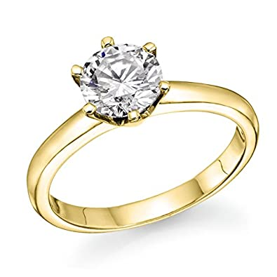 b61c8fe34646d 1 2 ct. Round Diamond Solitaire Engagement Ring in 18k Yellow Gold  Natural  Diamond  Amazon.co.uk  Jewellery