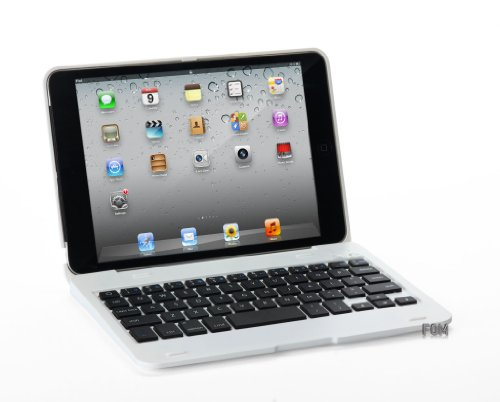 FOME Ultra Slim Wireless Bluetooth Keyboard Cover Case with Stand for iPad Mini White + A FOME Clean Cloth Gift
