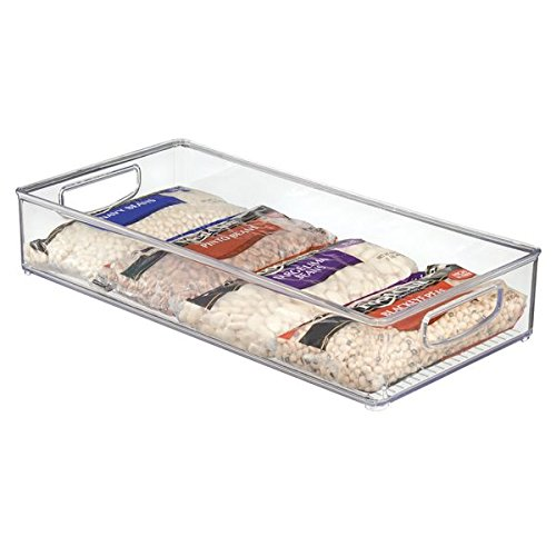 mDesign Home Kitchen Organizer Bin for Pantry, Freezer & Storage Cabinet 16'' x 8'' x 3'' - Clear