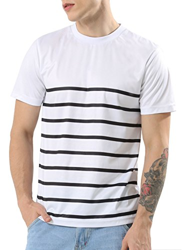 Short Pique Crewneck Sleeve T-shirt (uxcell Men Casual Contrast Crewneck Pique Striped Crew Neck Short Sleeve T Shirt (US 40) Medium White)