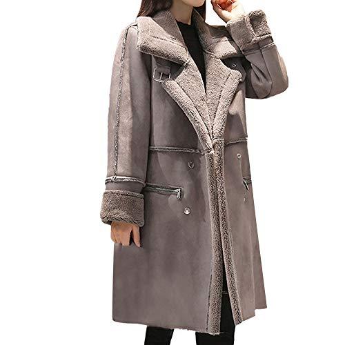 Limsea 2018 Women's Coat Leather Jacket Thicken Warm Faux Fur Winter Shearling Lapel Fleece Lined X-Large Grey
