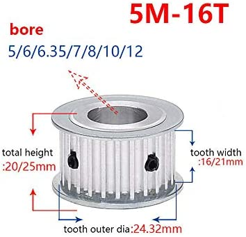 5M16T Timing Pulley Synchronous Wheel Sprockets 5-10mm Bore For 15//20mm Belt