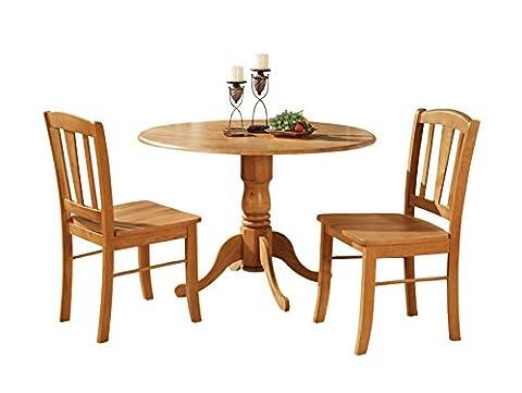 East West Furniture DLIN3-OAK-W 3-Piece Kitchen Table Set, Oak Finish - Pub Table Dinette