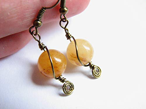 Yellow Calcite Wire Wrap Antiqued Brass Dangle Earring