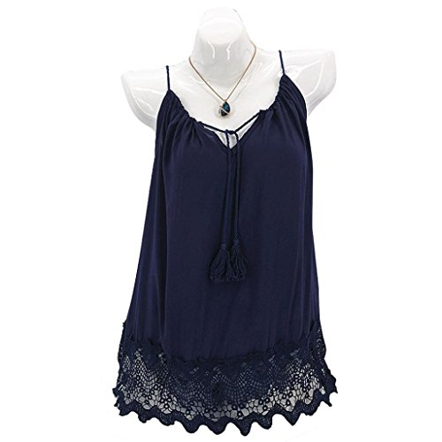 NEWONESUN Womens Sleeveless Shirts Summer Patchwork Slim Tops Lace Splice Camis T-Shirt (Large, Navy)