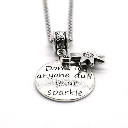 Stainless Steel Charms Inspiration Necklace, Do Not Let Anyone Dull Your Sparkle, Handmade in USA DN08