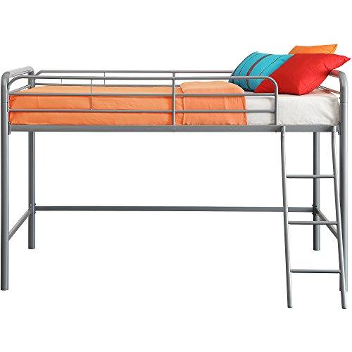 Home Junior Metal Twin Loft Bed Furniture Frame Bunk Bedroom Slide Black Storage and Side ladder and upper guard rails for added safety, Multiple Colors with Dimensions: 78