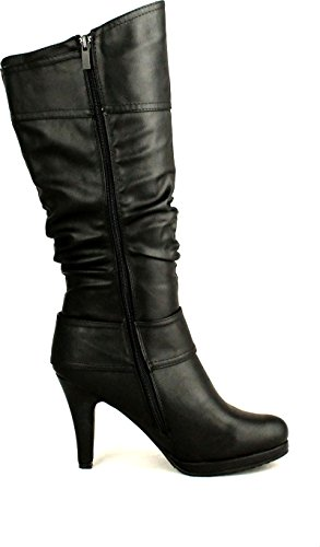 Top Moda Womens Page-22 Knee High Round Toe Buckle Slouched Low Heel Boots - stylishcombatboots.com