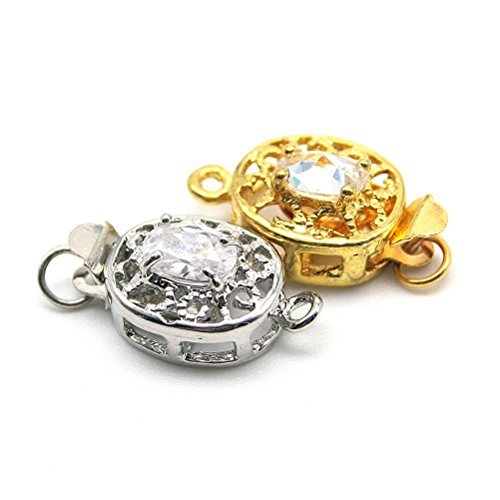 Beautiful Bead Flower 1 Strand Box Clasp for Jewelry Making Gold/Silver 2pcs