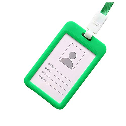 Fan-Ling Double-Sided Transparent Employee Work Card Holder,Portable Colorful Employee Plastic ID Card Holder Name Tag Lanyard Neck Strap,11 X 7cm (Green)