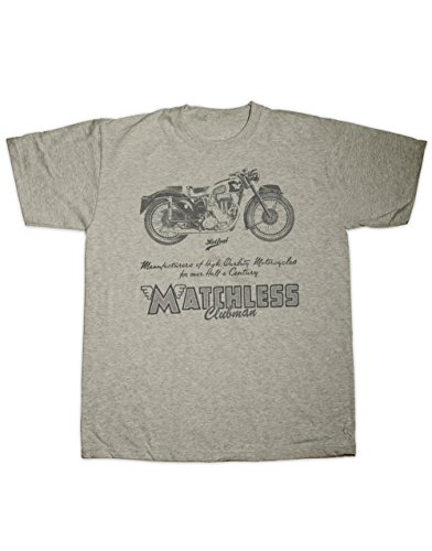 Hotfuel Men's Matchless Clubman Motorcycle Print T-Shirt Small Grey Clubman Shirt