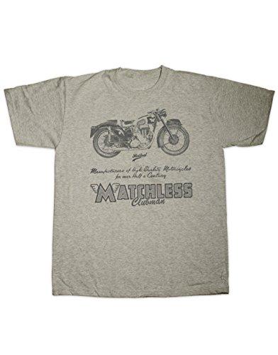 Hotfuel Men's Matchless Clubman Motorcycle Print T-Shirt 2XL Grey Clubman Shirt