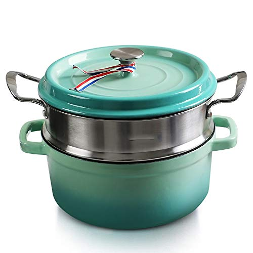 (Casserole cast iron, suitable for induction | enamel | cooking pot | Dutch oven | 29 cm | 4 liters volume, with steamer insulation for easy)