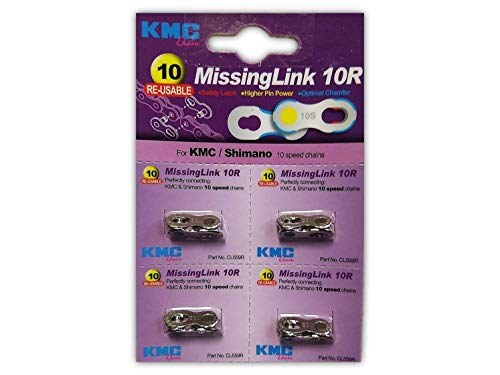 KMC Missing Link 10: for 10 Speed Chain, Silver, Perfectly Connecting KMC, SRAM, Shimano and Connex Chains - 4 Pack (10 Speed Link)