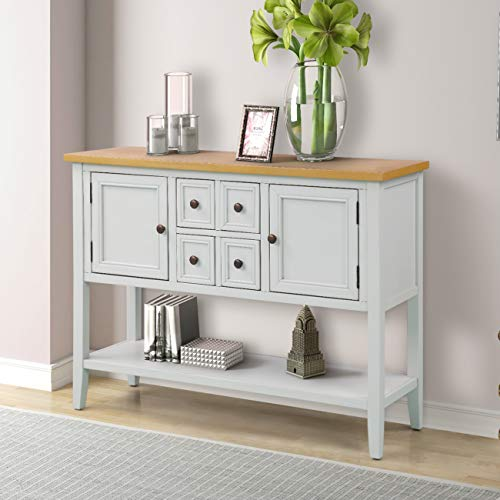 (LOKESI Console Table Buffet Sideboard Sofa Table with 4 Storage Drawers Two Cabinets and Bottom Shelf (Antique White))