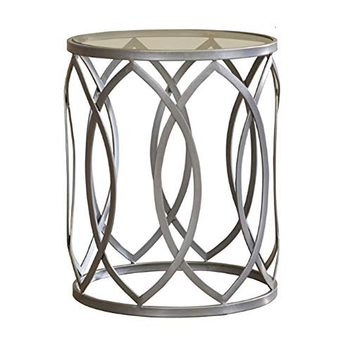 NAN Liang Nordic Round Glass Small Coffee Table/Creative Sofa Side/Small Table Corner/Wrought Iron Telephone Table/Bedside Table/Simple Modern Folding Tables (Wrought Table Telephone Iron)