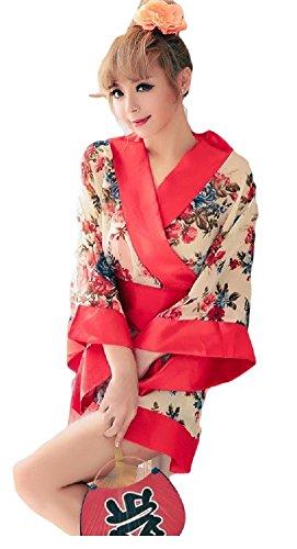 JUX Cosplay Women's Japanese Kimono Yukata Style Costume Floral (Yukata Costume)