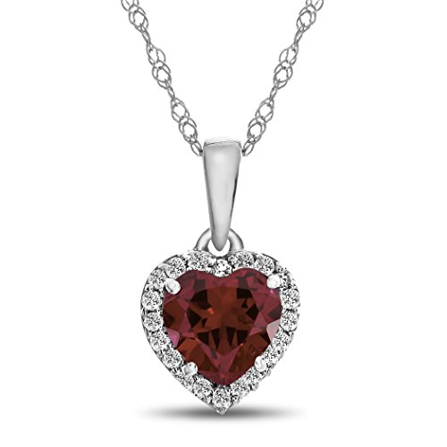 Finejewelers 10k White Gold 6mm Heart-Shaped Created Ruby with White Topaz accent stones Halo Pendant Necklace