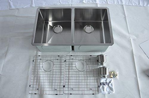KRIZTO 32 Inch Undermount Double Bowl (50/50) 16 Gauge Stainless Steel Kitchen Sink,10 Inch Deep Bowl,10mm Radius Corners, FREE Stainless Steel Sink Basket Strainer, Bottom Grid & Sink Accessories by KRIZTO