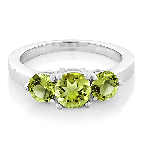 Gem Stone King 2.10 Ct 3-Stone Round Green Peridot 925 Sterling Silver Ring 1X6MM and 2X5MM
