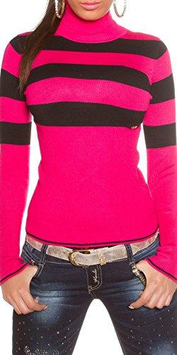 koucla Roll Sudadera Cuello Rayas einheits de tamaño 34S Sudadera con rayas (en de 101) rosa