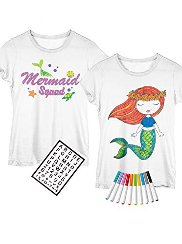 2 DIY Mermaid Shirts for Girls for Coloring with Fabric Markers and Stencil