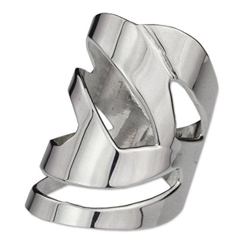 NOVICA .925 Sterling Silver Handcrafted Wide Cocktail Ring, Modern Jazz' (Handcrafted Designer Ring)