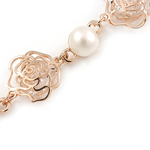 Avalaya Romantic CZ Rose with Dangling Pearl Bracelet In Rose Gold Metal - 15cm L/3cm Ext (For Small Wrist) 3lFFgo0t