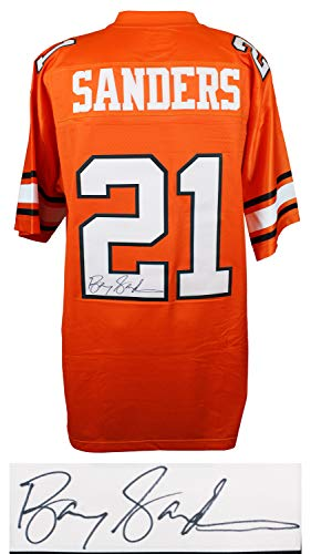 Barry Sanders Autographed Signed Oklahoma State Throwback Orange Premier Jersey- Authentic Signature