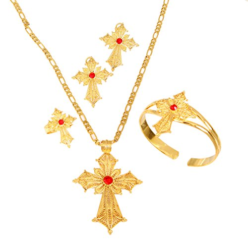 (Ethiopian Stone Color Cross Jewelry Set Gold Color Necklace Earrings Ring Bangle)