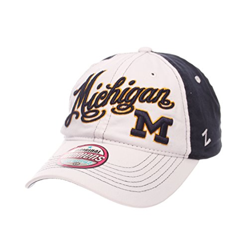 Vintage Vogue Apparel - Zephyr NCAA Michigan Wolverines Adult Women Vogue Women's Relaxed Hat, Adjustable, White/Team Color